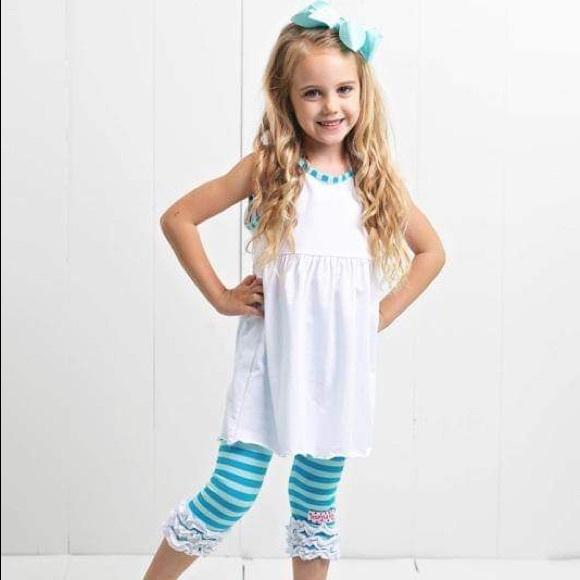 Ruffle Girl Other - Ruffle Girl White & Aqua Ruffle Legging Capri Set